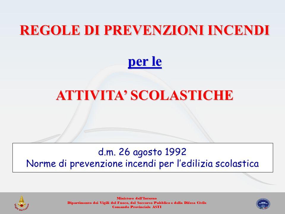 REGOLE DI PREVENZIONI INCENDI ATTIVITA' SCOLASTICHE