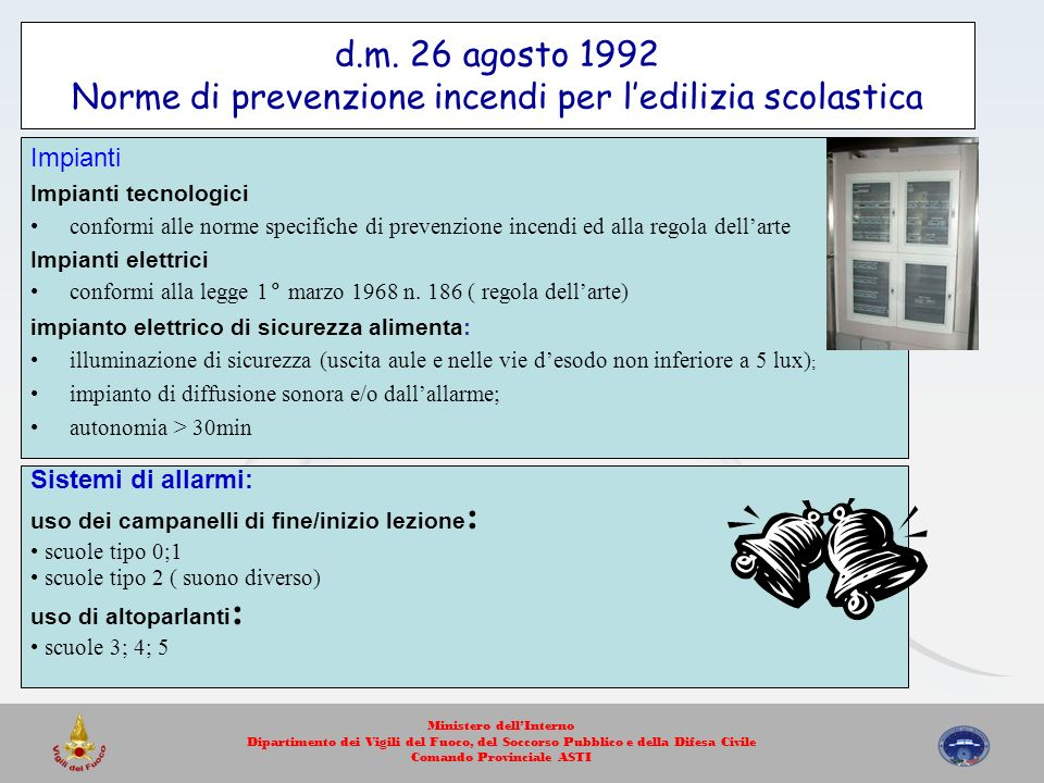 d.m. 26 agosto 1992 Norme di prevenzione incendi per l'edilizia scolastica