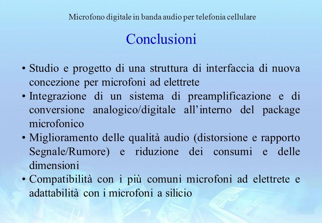 Conclusioni Studio e progetto di una struttura di interfaccia di nuova concezione per microfoni ad elettrete.