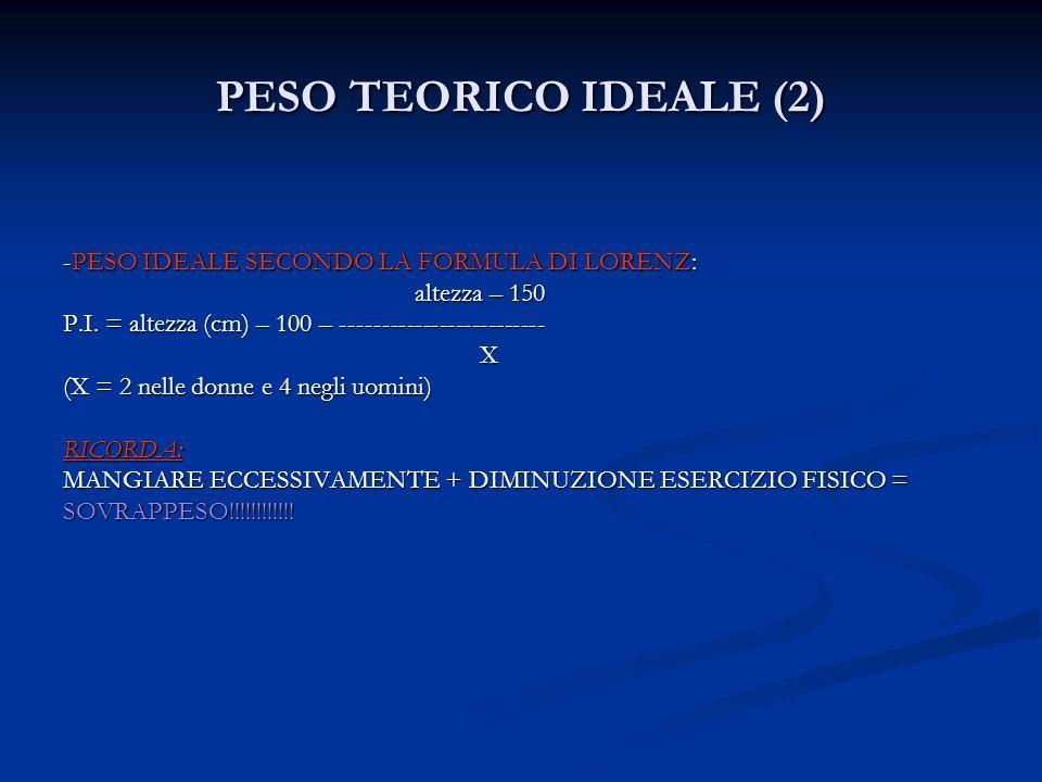 PESO TEORICO IDEALE (2) -PESO IDEALE SECONDO LA FORMULA DI LORENZ: