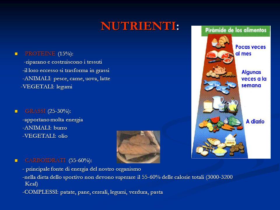 NUTRIENTI: PROTEINE (15%): -riparano e costruiscono i tessuti