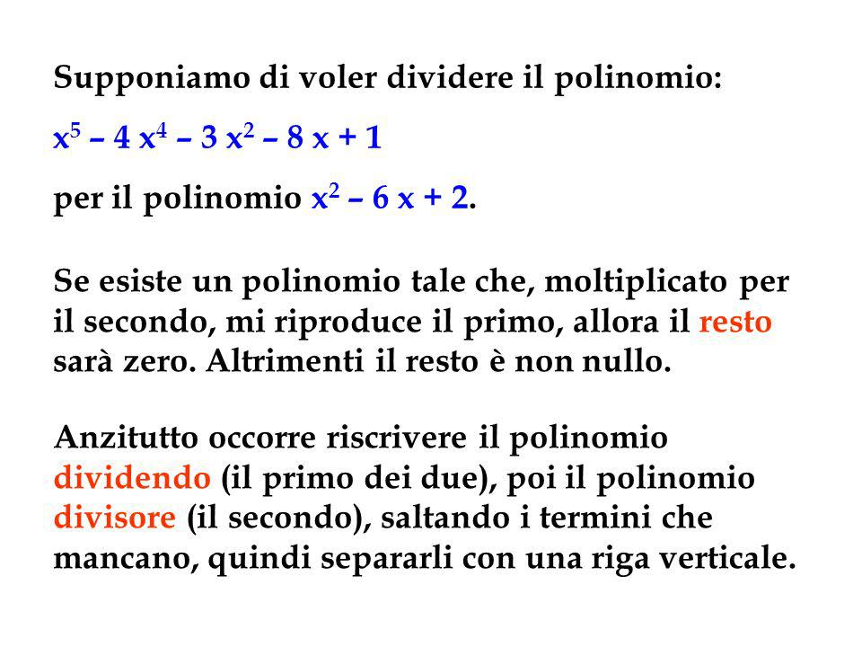 Supponiamo di voler dividere il polinomio: