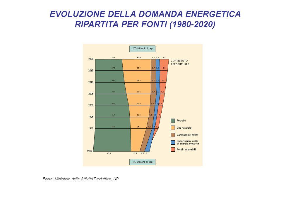 EVOLUZIONE DELLA DOMANDA ENERGETICA RIPARTITA PER FONTI (1980-2020)