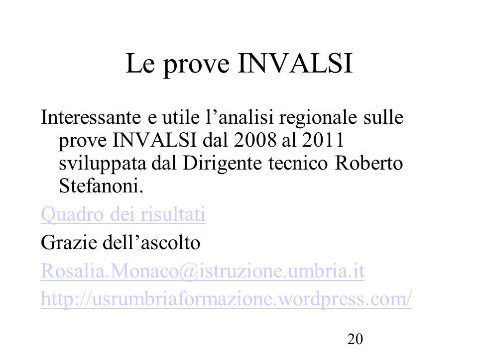 Le prove INVALSI Interessante e utile l'analisi regionale sulle prove INVALSI dal 2008 al 2011 sviluppata dal Dirigente tecnico Roberto Stefanoni.