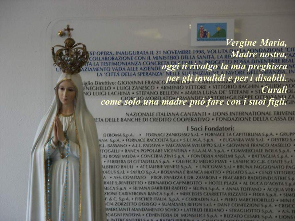 Vergine Maria, Madre nostra, oggi ti rivolgo la mia preghiera per gli invalidi e per i disabili.