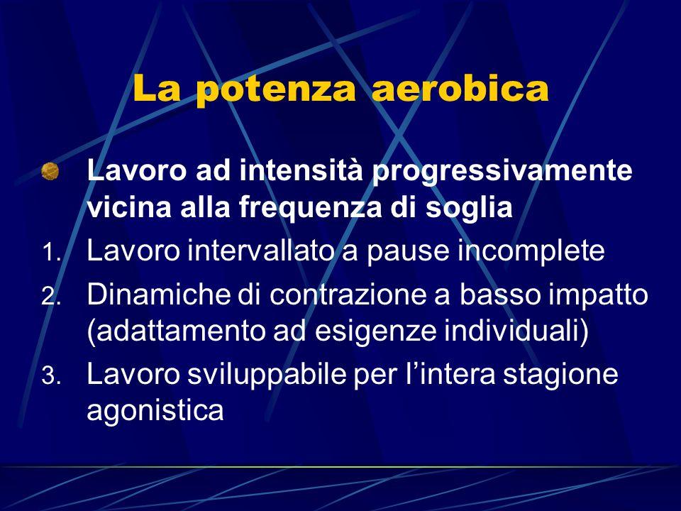 La potenza aerobica Lavoro ad intensità progressivamente vicina alla frequenza di soglia. Lavoro intervallato a pause incomplete.