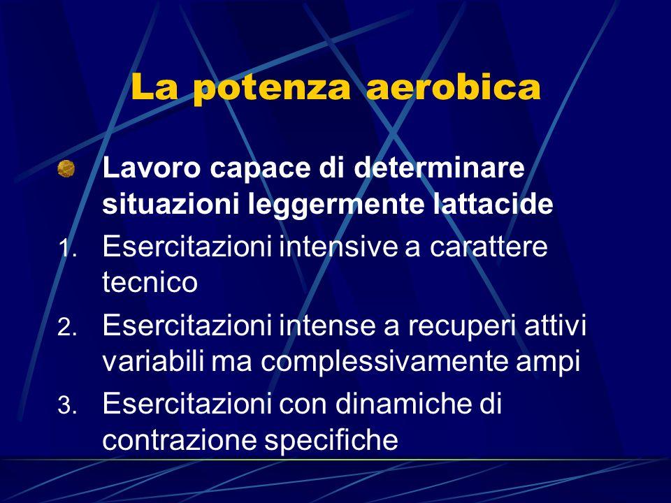 La potenza aerobica Lavoro capace di determinare situazioni leggermente lattacide. Esercitazioni intensive a carattere tecnico.