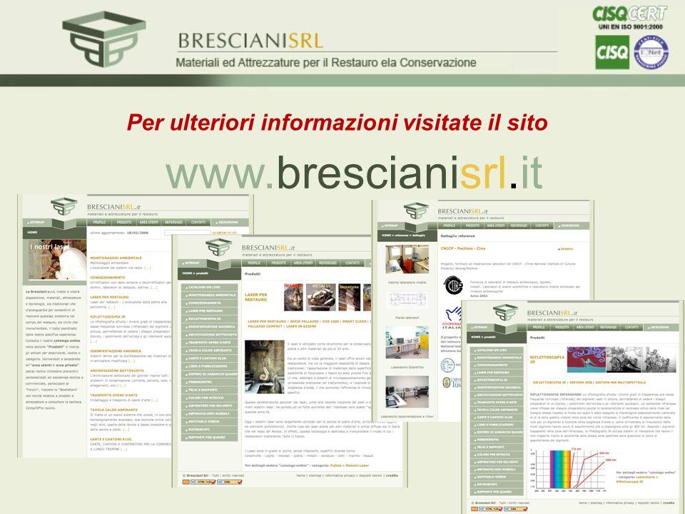 Per ulteriori informazioni visitate il sito