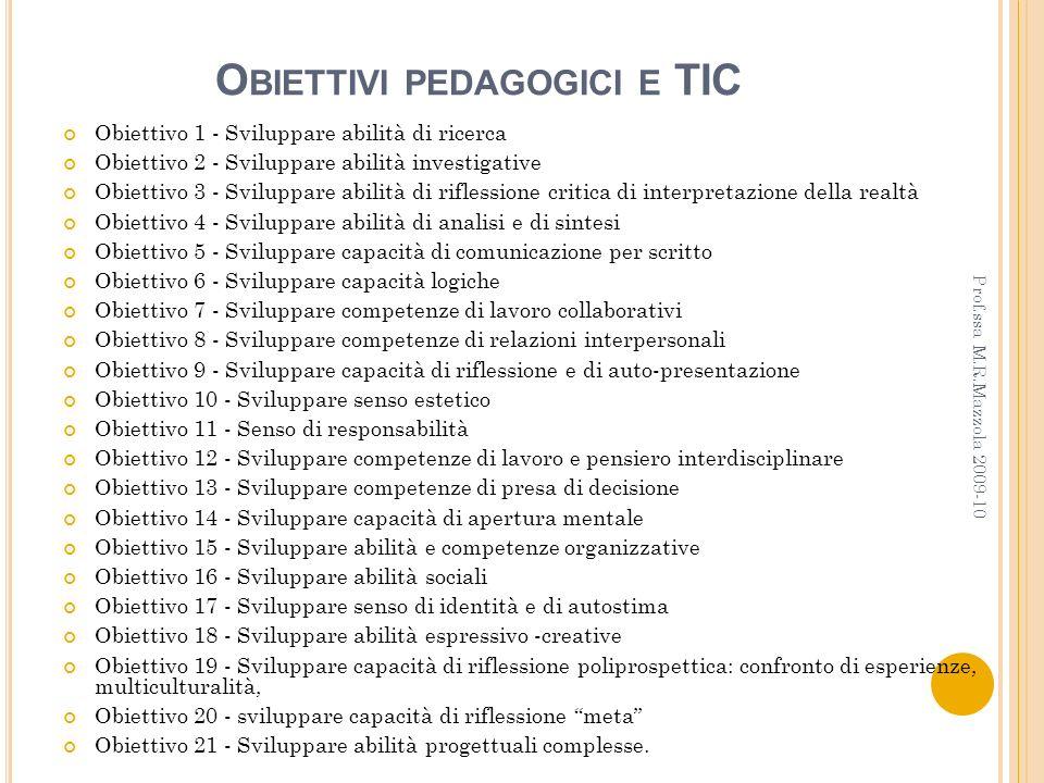 Obiettivi pedagogici e TIC