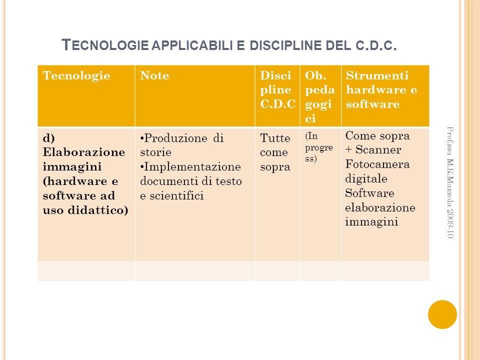 Tecnologie applicabili e discipline del c.d.c.