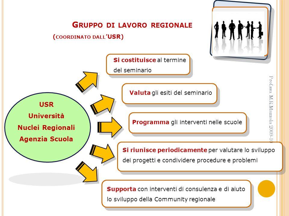 Gruppo di lavoro regionale (coordinato dall'USR)