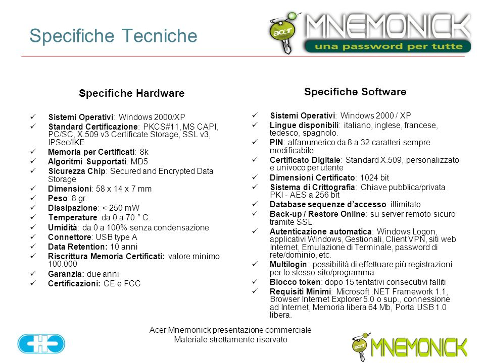 Specifiche Tecniche Specifiche Hardware Specifiche Software