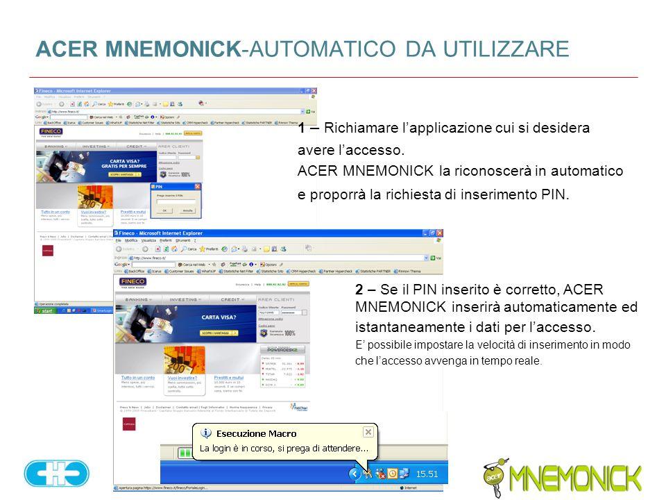 ACER MNEMONICK-AUTOMATICO DA UTILIZZARE