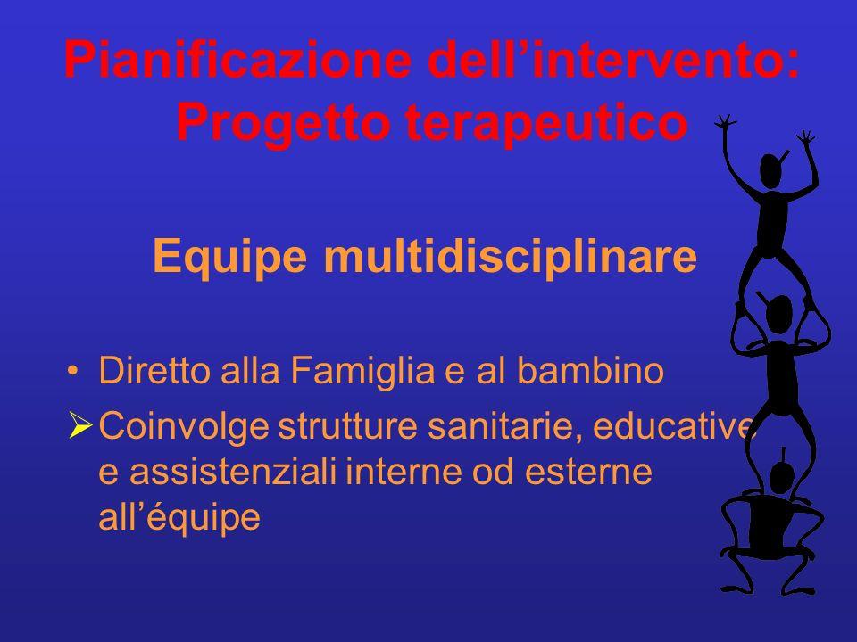 Pianificazione dell'intervento: Progetto terapeutico
