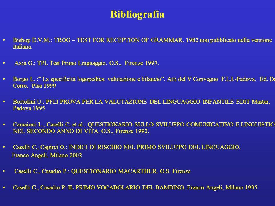 Bibliografia Bishop D.V.M.: TROG – TEST FOR RECEPTION OF GRAMMAR. 1982 non pubblicato nella versione italiana.