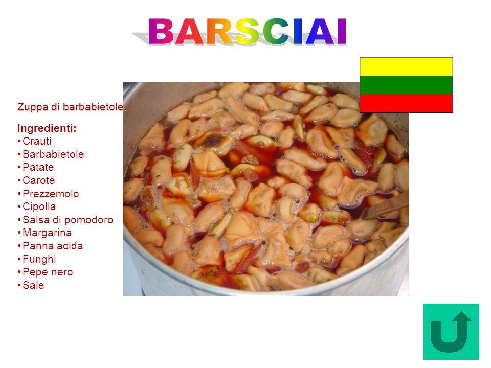 BARSCIAI Zuppa di barbabietole. Ingredienti: Crauti Barbabietole