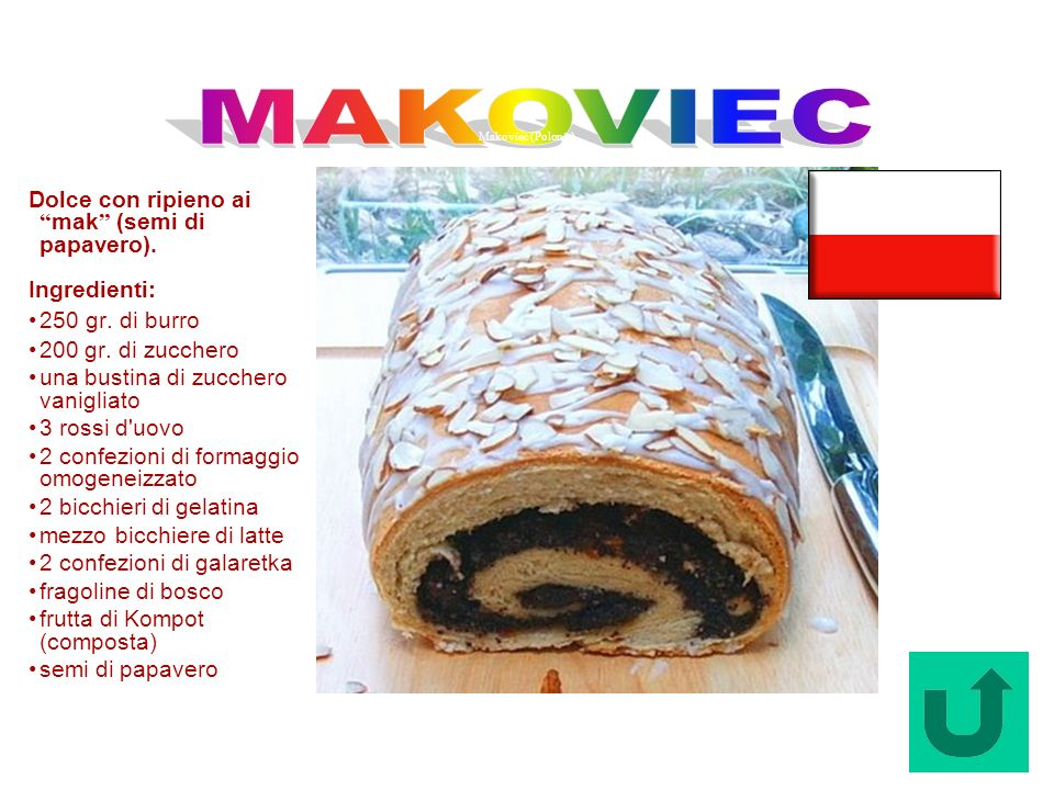 MAKOVIEC Dolce con ripieno ai mak (semi di papavero). Ingredienti: