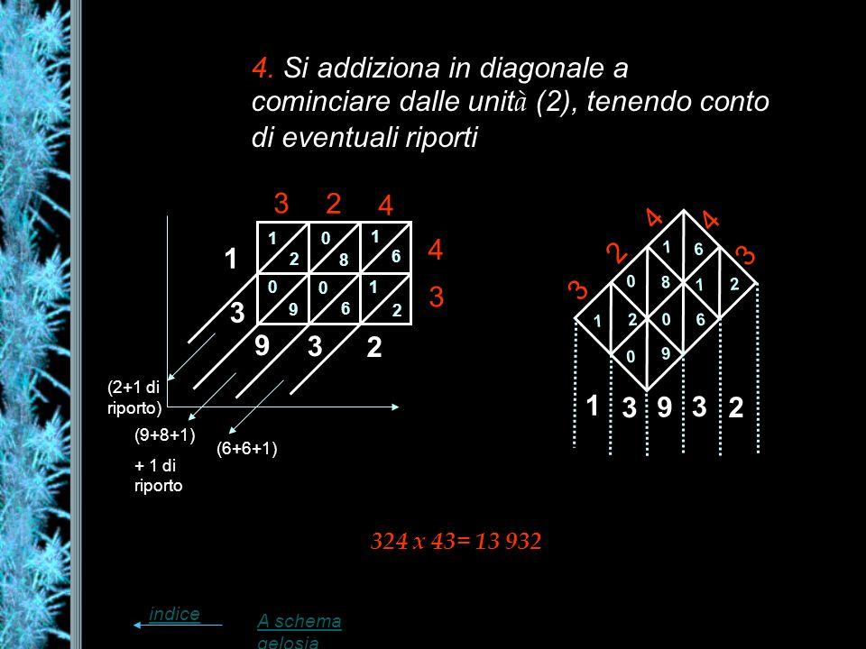 4. Si addiziona in diagonale a cominciare dalle unità (2), tenendo conto di eventuali riporti