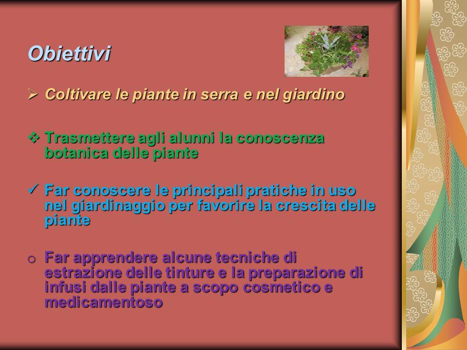 Obiettivi Coltivare le piante in serra e nel giardino