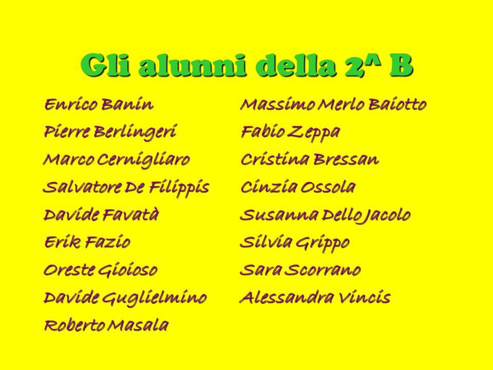 Gli alunni della 2^ B Enrico Banin Massimo Merlo Baiotto