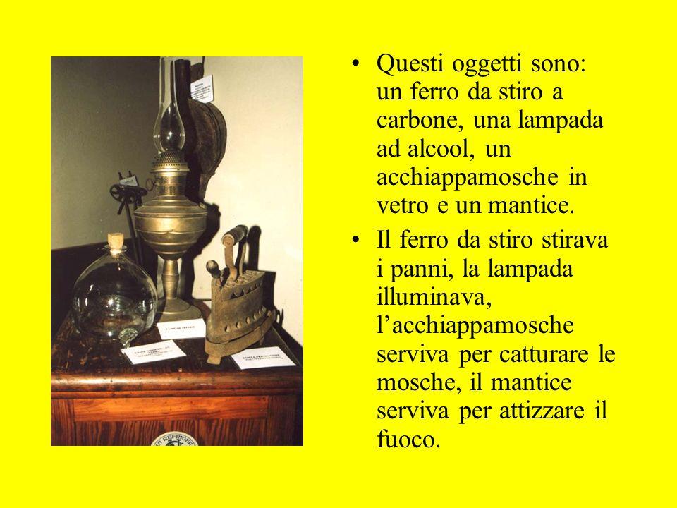 Questi oggetti sono: un ferro da stiro a carbone, una lampada ad alcool, un acchiappamosche in vetro e un mantice.