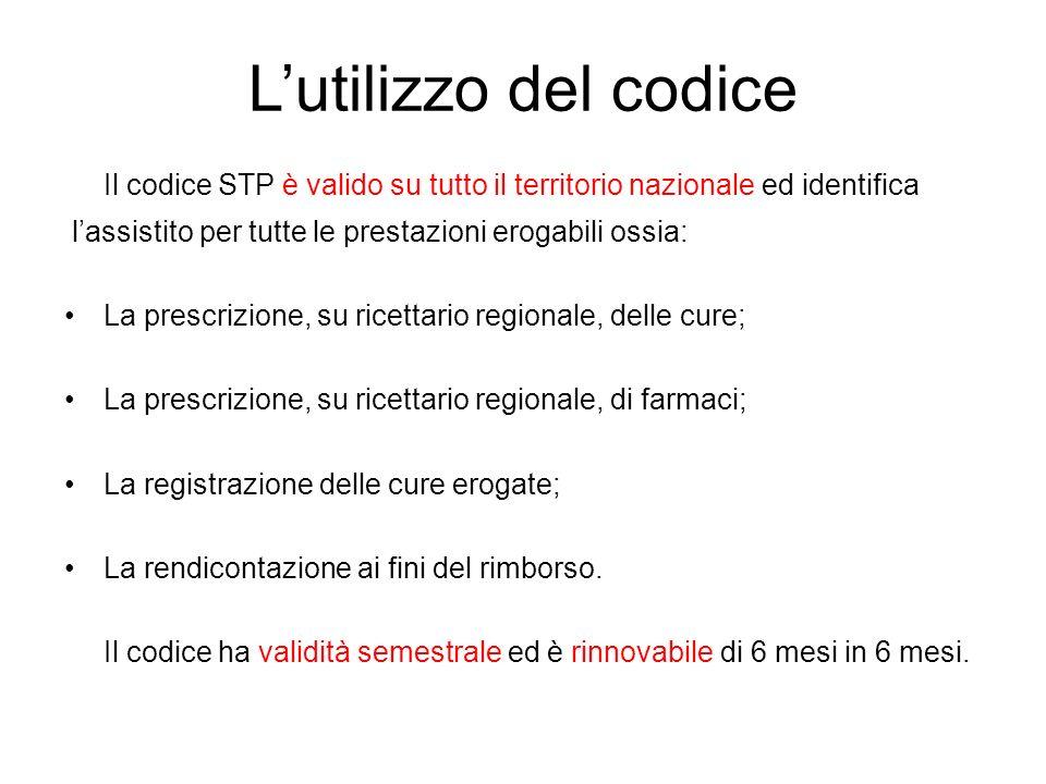 L'utilizzo del codiceIl codice STP è valido su tutto il territorio nazionale ed identifica. l'assistito per tutte le prestazioni erogabili ossia: