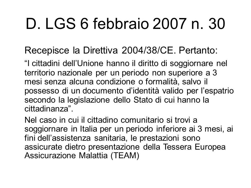 D. LGS 6 febbraio 2007 n. 30 Recepisce la Direttiva 2004/38/CE. Pertanto: