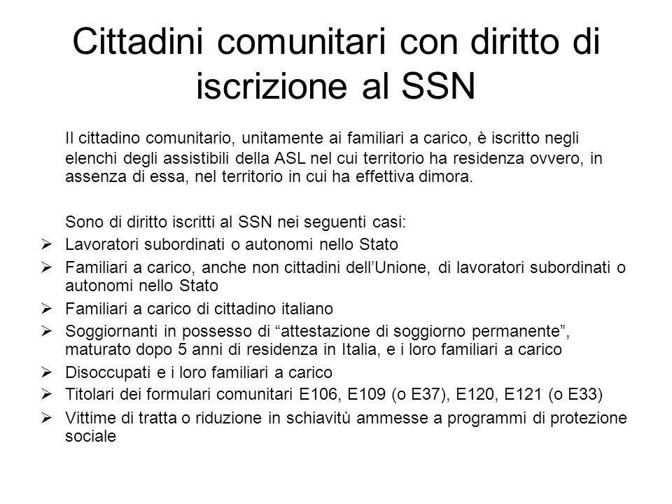 Cittadini comunitari con diritto di iscrizione al SSN