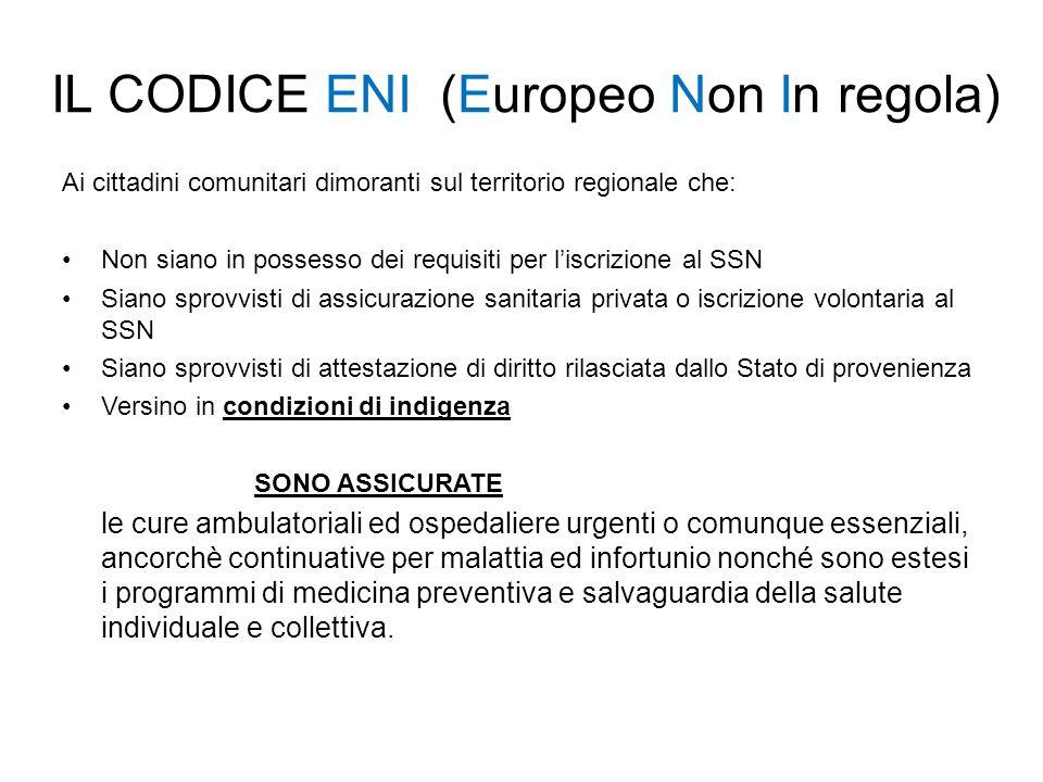 IL CODICE ENI (Europeo Non In regola)