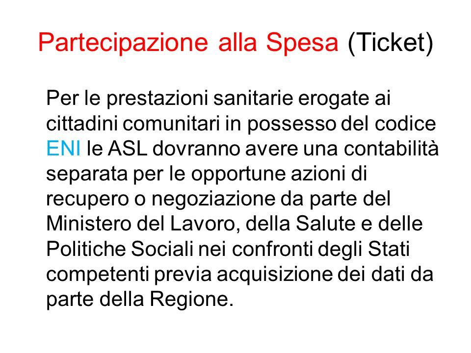 Partecipazione alla Spesa (Ticket)