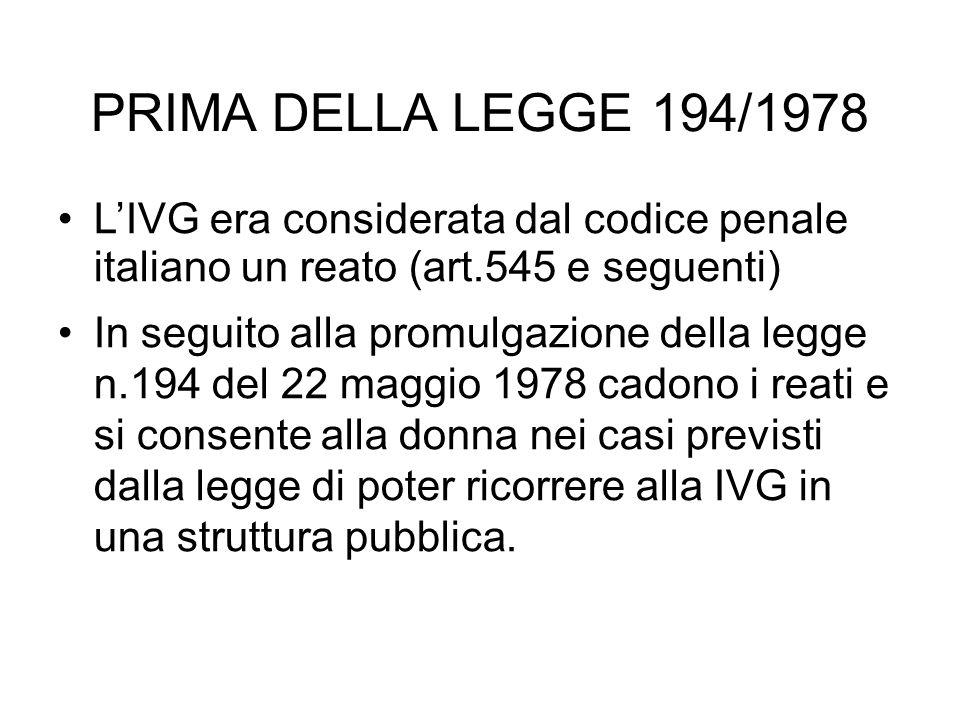 PRIMA DELLA LEGGE 194/1978 L'IVG era considerata dal codice penale italiano un reato (art.545 e seguenti)