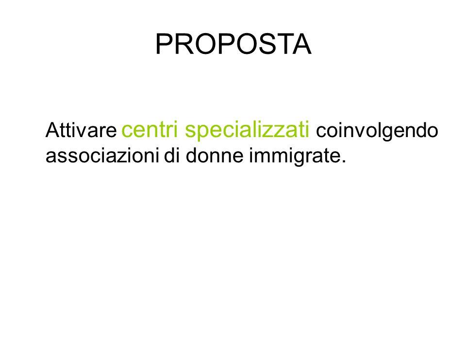 PROPOSTA Attivare centri specializzati coinvolgendo associazioni di donne immigrate. 58