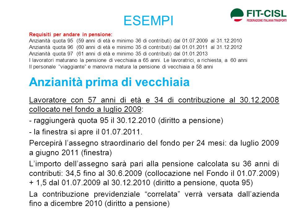 ESEMPI - raggiungerà quota 95 il 30.12.2010 (diritto a pensione)