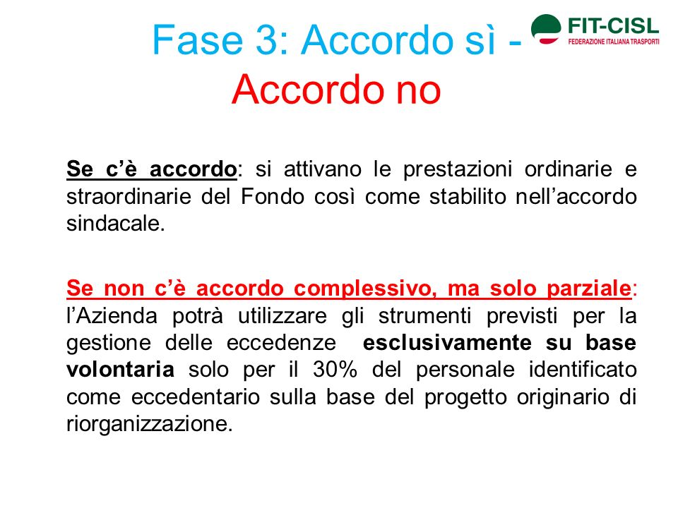 Fase 3: Accordo sì - Accordo no