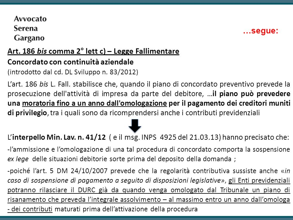 Art. 186 bis comma 2° lett c) – Legge Fallimentare
