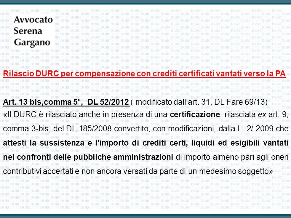 Rilascio DURC per compensazione con crediti certificati vantati verso la PA