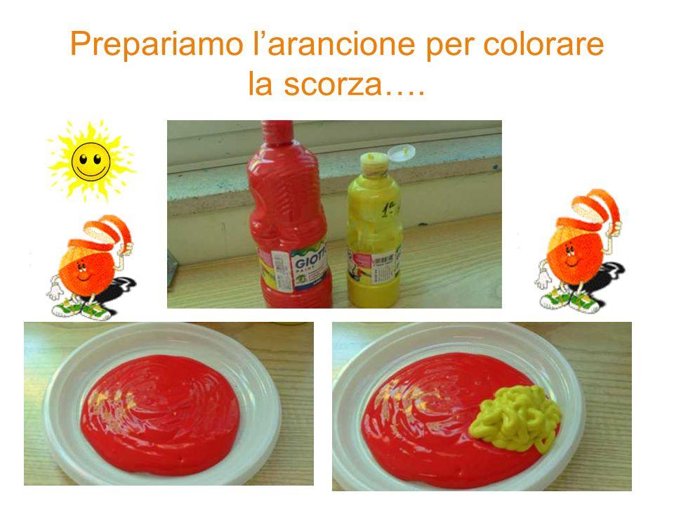 Prepariamo l'arancione per colorare la scorza….