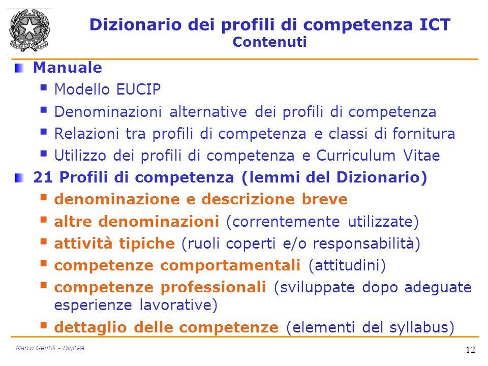 Dizionario dei profili di competenza ICT Contenuti