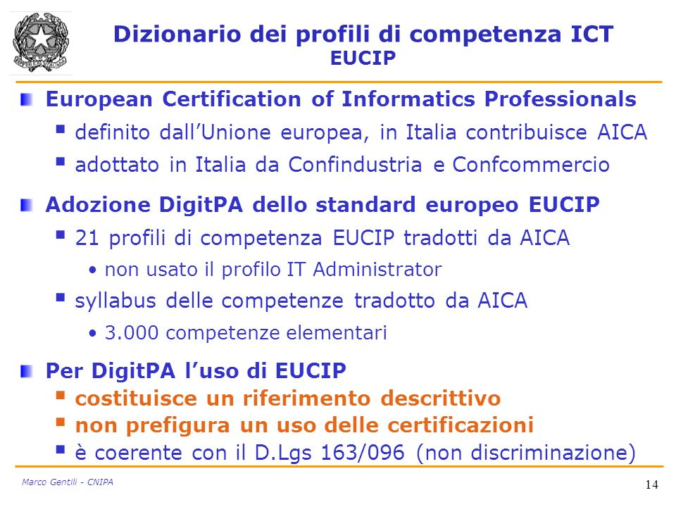Dizionario dei profili di competenza ICT EUCIP