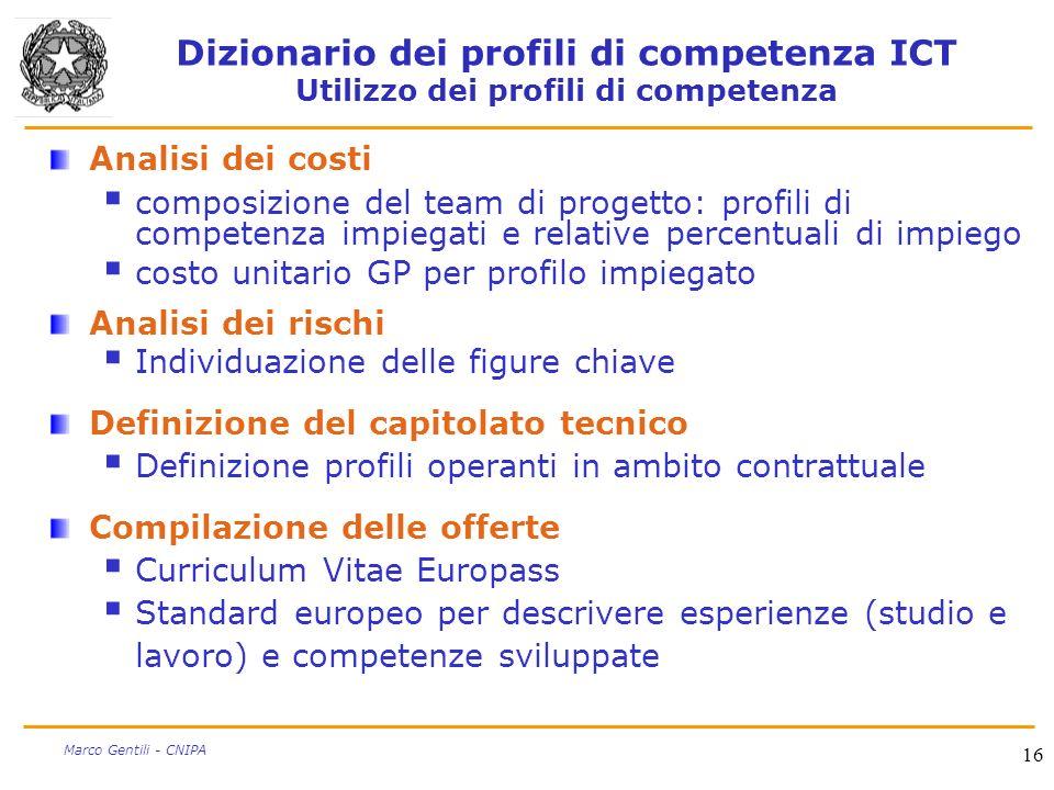 Dizionario dei profili di competenza ICT Utilizzo dei profili di competenza