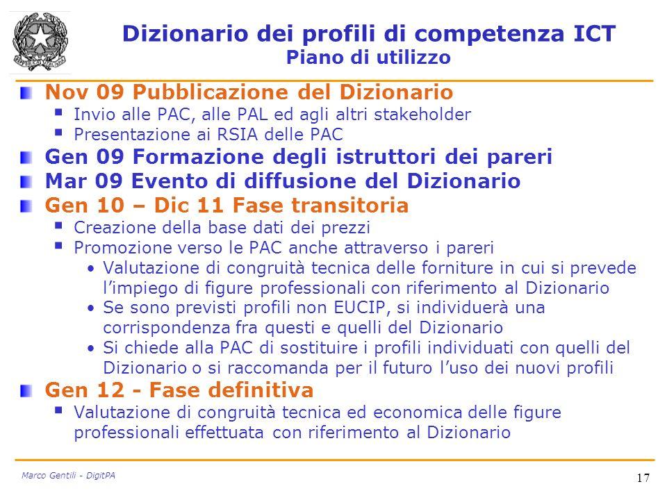 Dizionario dei profili di competenza ICT Piano di utilizzo
