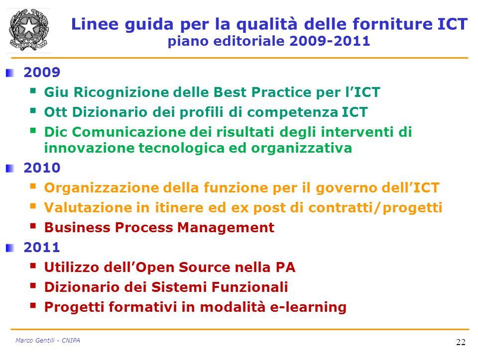 Linee guida per la qualità delle forniture ICT piano editoriale 2009-2011