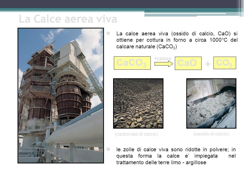 La Calce aerea viva CaCO3 CaO + CO2