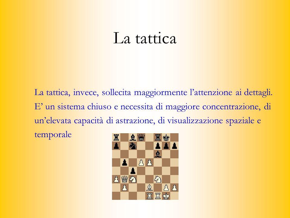 La tattica La tattica, invece, sollecita maggiormente l'attenzione ai dettagli. E' un sistema chiuso e necessita di maggiore concentrazione, di.