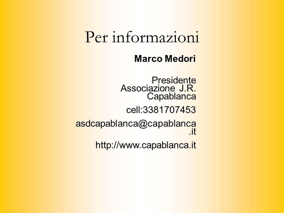 Per informazioni Marco Medori Presidente Associazione J.R. Capablanca