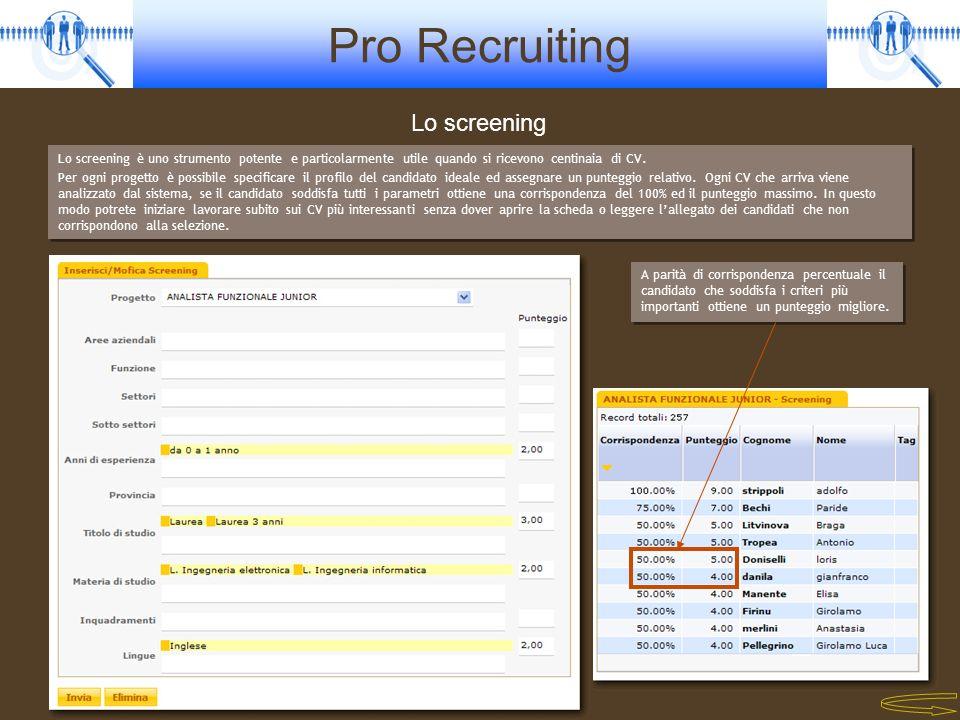 Lo screening Lo screening è uno strumento potente e particolarmente utile quando si ricevono centinaia di CV.