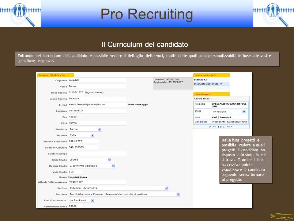 Il Curriculum del candidato