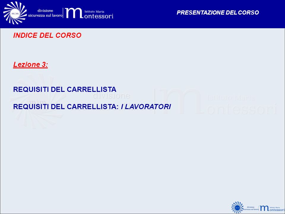 REQUISITI DEL CARRELLISTA REQUISITI DEL CARRELLISTA: I LAVORATORI