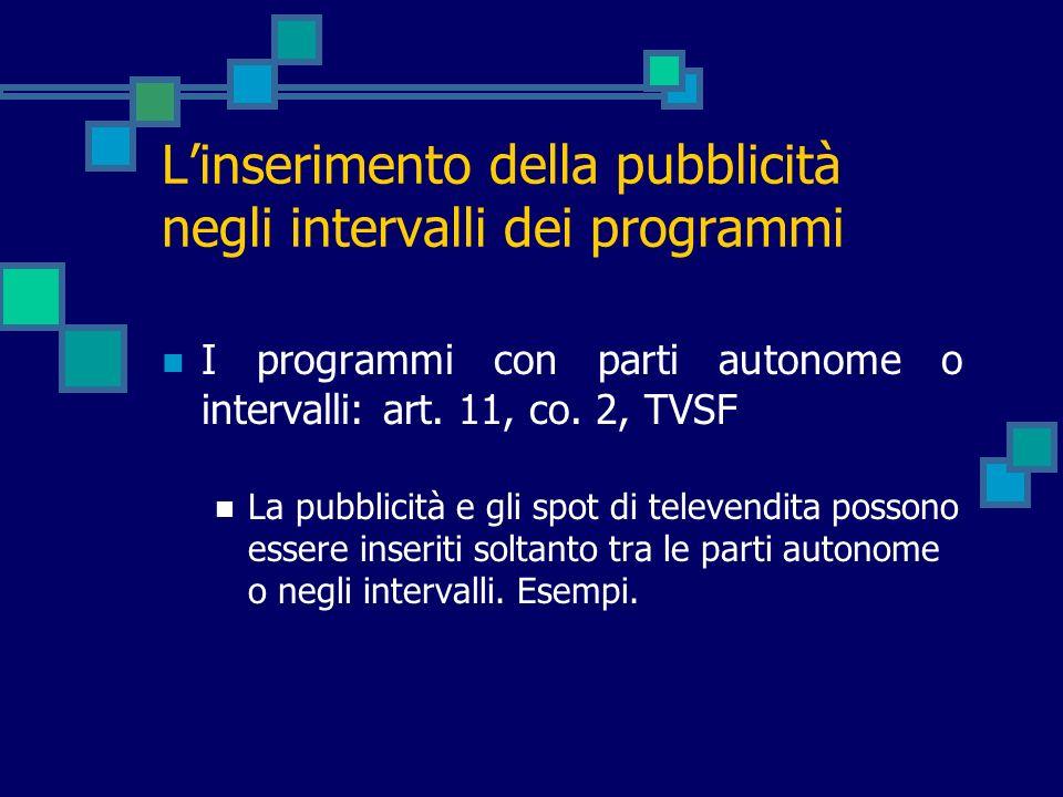L'inserimento della pubblicità negli intervalli dei programmi