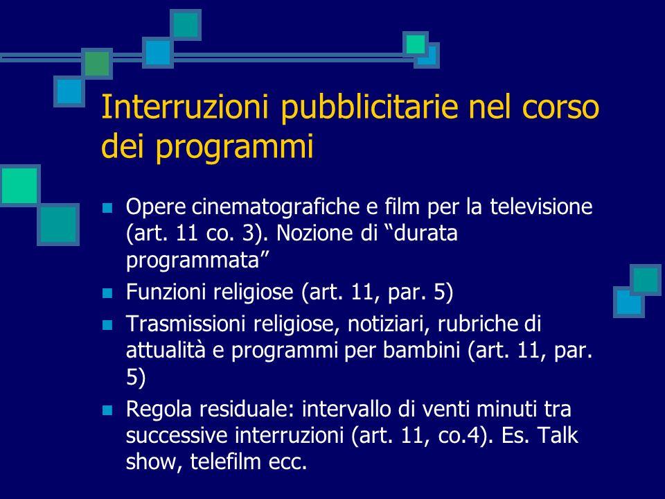 Interruzioni pubblicitarie nel corso dei programmi